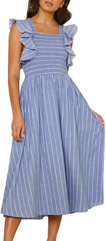 Vestido de Mujer Sin Tirantes, Vestido Larga asimétrica de Rayas y de Manga Larga para Mujeres Fondo de Robe daysing Azul Large: Amazon.es: Informática