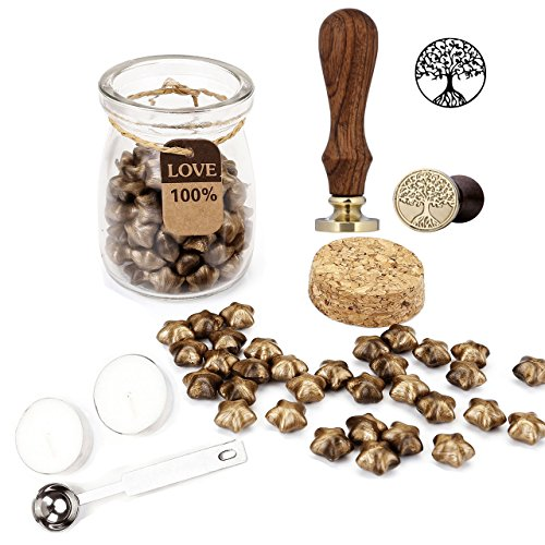 Sealing Wax Set, Yoption 120 Pieces Lucky Star Sealing Wax Beads and Romantic Wax Stamp with 1 Piece Wax Melting Spoon and 2 Pieces Candles for Postage Letter (Bronze + Tree of Life) - Bronze Wax Candle