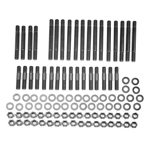 ARP 234-4721 Pro Series Black Oxide 3/8'' Diameter 12-Point Cylinder Head Stud Kit for Small Block Chevy with 18 Degree Under Cut Raised Intake by ARP
