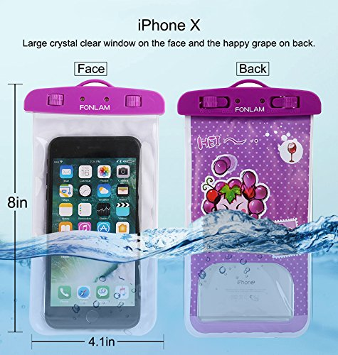 Universal Waterproof Case, FONLAM IPX8 Waterproof Phone Pouch Dry Bag for iPhone X, 8/7/7 Plus/6/6S Plus, Samsung Galaxy S9/S9 Plus/S8/S8 Plus/Note 8, Google Pixel 2 LG up to 7.0'' (Purple,Black,White) by FONLAM (Image #2)