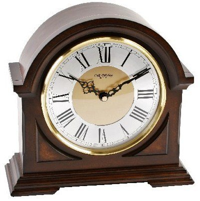 Deluxe Wooden Chiming Mantel Clock - Broken Arch Design - Westminster Chimes Watching Clocks