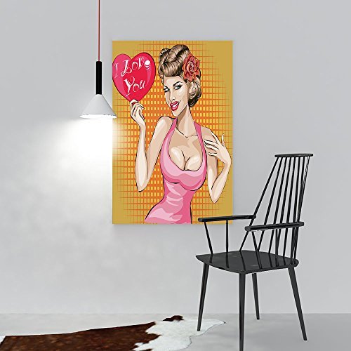 Modern Home Decor Frameless Valentines Day Pin up Sexy Woman Portrait Heart Pop Art Vector The Kitchen, Dining Room, Living Room, Bar so on W20 x H28