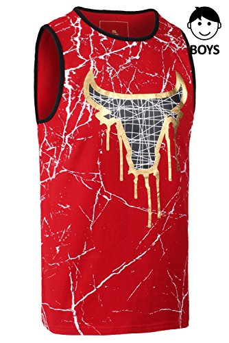 JC DISTRO Boys Hipster Hip Hop Graphic Bulls Gold Foil Printing Tank Top Red Medium