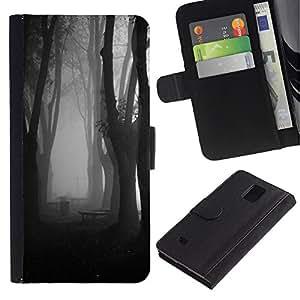 KingStore / Leather Etui en cuir / Samsung Galaxy Note 4 IV / Niebla Bosque Oscuro Negro Blanco;