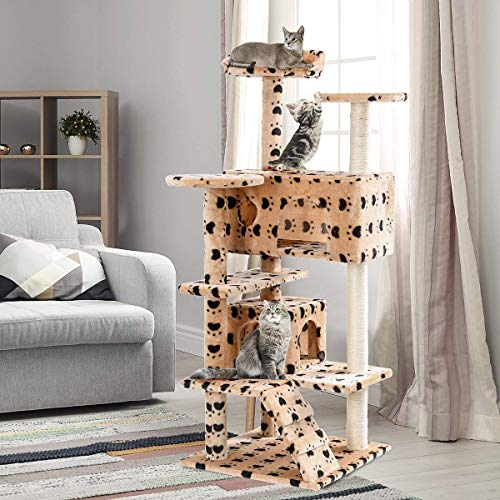 "Tangkula Cat Tree, Multi-Level Cat Tree Tower with Scratching Post & Ladder, Pet Furniture Play House Kitten Condo Cat Tower for Kittens, Cats and Pets (52"") (Yellow)"