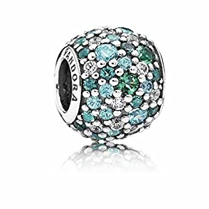 Pando Silver Ocean,Sky Mosaic Pave Charms with Cubic Zirconia & Crystal