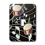 3dRose LLC lsp_38199_1 Red Drums On Music Notes Single Toggle Switch