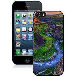 NEW Unique Custom Designed iPhone 5S Phone Case With River Canyon Sunset_Black Phone Case