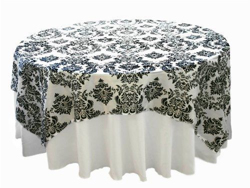 Damask Overlays (BalsaCircle 90x90-Inch Black on White Damask Flocking Table Overlays - Wedding Reception Party Catering Table Linens Decorations)