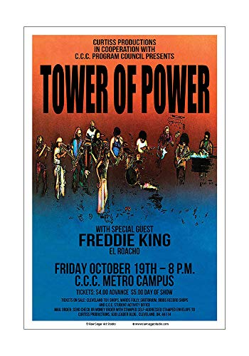 Raw Sugar Art Studio Tower of Power/Freddie King 1973 Cleveland Concert Poster