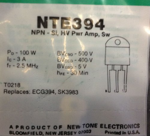 (NTE Electronics NTE394 NPN Silicon Transistor, Power Amp, High Voltage Switch, TO3PN Type Package, 500V, 3)