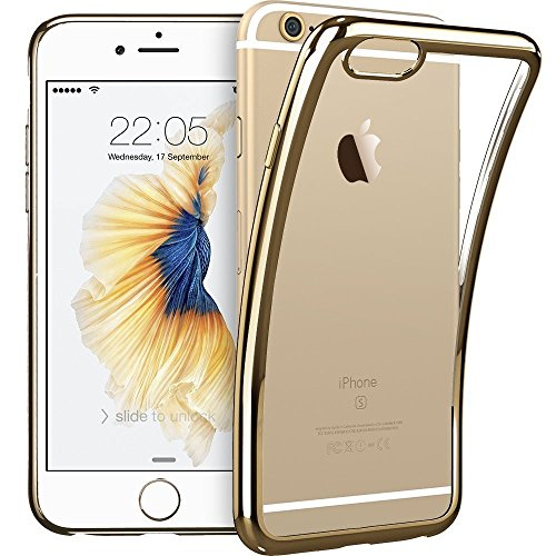 """HOCO iPhone 6 Plus Case 5.5"""" Ultra Clear Thin Silicone Protective Bumper Full Coverage For Apple iPhone 6/6s Plus-Gold"""
