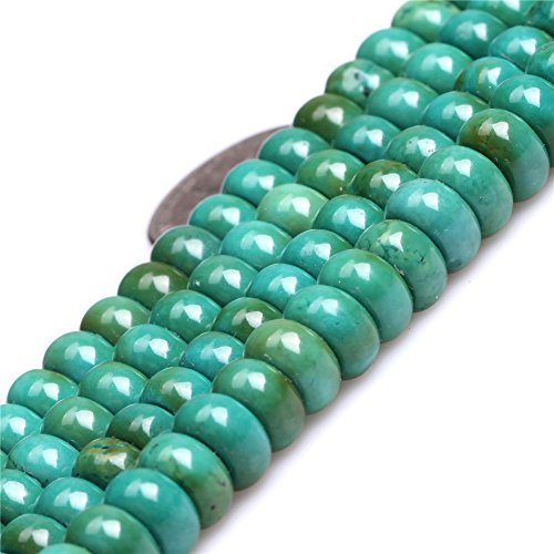 Old Turquoise Beads for Jewelry Making Gemstone Semi Precious 4x8mm Rondelle Green 15