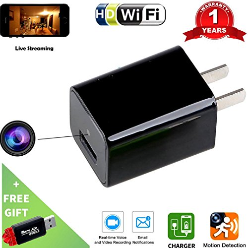 Wi-Fi Hidden Camera USB Phone Charger-HD 1080P Spy Cameras-AC Wall Plug Adapter Cam- Motion Detection Activated -APP Remote Video View -Nanny Cam / For Home ,Kids , Pets Surveillance By - Eyeglass Spectrum