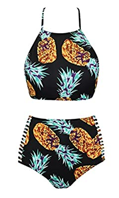 UniSweet Womens Retro Classic Floral Crop Top Bikini Two Piece Swimsuit (FBA)