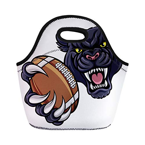 Semtomn Neoprene Lunch Tote Bag Black Panther Angry Animal Sports Mascot Holding American Football Reusable Cooler Bags Insulated Thermal Picnic Handbag for Travel,School,Outdoors, ()