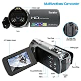 Camera Camcorders, Besteker HD 1080P 24MP 16X Digital Zoom Video Camcorder with 2.7 LCD and 270 Degree Rotation Screen(312P-Gun gray)