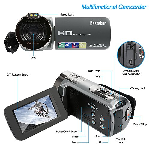 """Camera Camcorders, Besteker HD 1080P 24MP 16X Digital Zoom Video Camcorder with 2.7"""" LCD and 270 Degree Rotation Screen(312P-Gun gray)"""