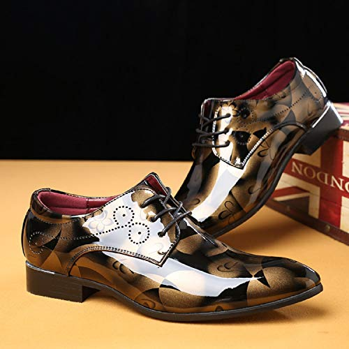 Blu Marrone Basse Uomo Derby Nero Scarpe Brogue LILY999 Vintage Elegante Stringate Oro Oxford gPnCz