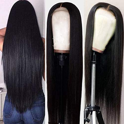 Hermosa Lace Front Human Hair Wigs Pre Plucked with Baby Hair 220% Density 9A Brazilian Straight Human Hair Lace Front Wigs for Women Natural Hairline Black Color 22 inch