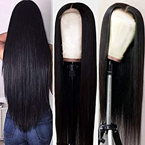 Hermosa 9A Lace Front Wigs Human Hair with Baby Hair Pre Plucked Bleached Knots Remy Brazilian Straight Lace Wigs for…