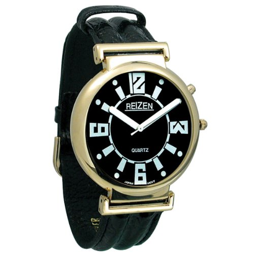 UPC 612750734052, Reizen Low Vision Watch- Black Dial w-Leather Band