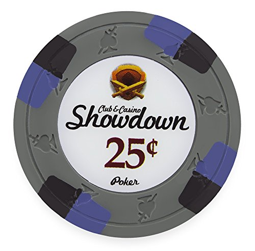 Pack of 50 Showdown Poker Chips, Heavyweight 13.5-gram Clay Composite by Claysmith Gaming ($0.25 Gray)