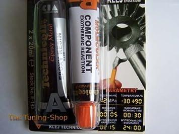 Pegamento adhesivo muy fuerte EPOXY para metales de aleación de acero bronce, etc. 2 x 20 ml de soldadura fría: Amazon.es: Bricolaje y herramientas