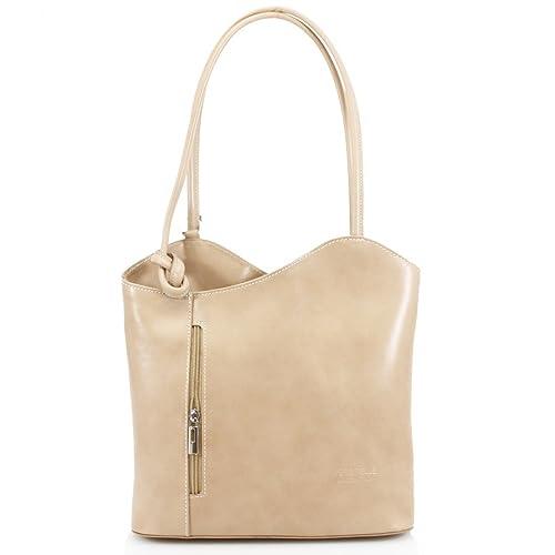 bdb5f85242fe Women Vera Pelle Genuine Italian Leather Shoulder Backpack Ladies Handbag ( beige)