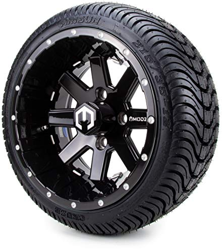 12″ MODZ Assault Black Ball Mill Golf Cart Wheels and Low Profile Tires Combo Set of 4