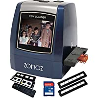 zonoz 22MP All-In-1 Film & Slide Scanner w/Speed-Load Adapters for 35mm Negative & Slides, 126, 110, Super 8 Films, Worldwide 110/24AC Adapter 16GB SD Card & Extra Trays (FS-THREE BUNDLE)