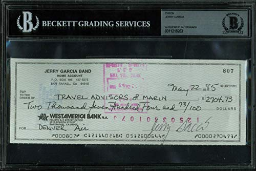 - Jerry Garcia Signed 3x8.25 Check Dated May 22, 1985 BAS Slabbed - Beckett Authentication