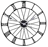 Primrose Wheel Metal Garden Clock in a Black Painted Finish - Outdoor Modern Wall Clock - 50cm