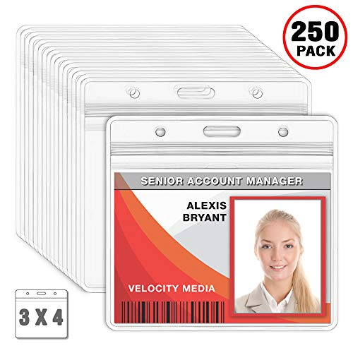 ntal Badge Holder, Waterproof Plastic Card Holders (Clear, 3x4 inches, 250 Pack) ()