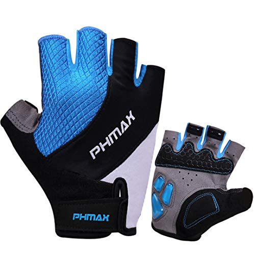 (KHFVJ Liquid Gel Cycling Gloves Half Finger Silicone Thickened Pad Racing Bicycle Gloves Shockproof Breathable MTB Bicycle Glove Blue XL)