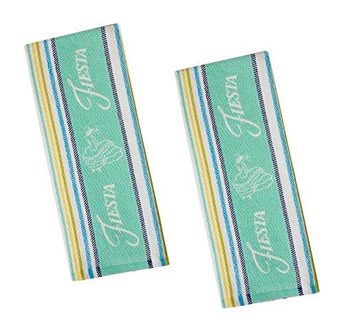 Fiesta Turquoise Stripe Dual Purpose Cotton Kitchen Towel, Set of 2 (Fiesta Towel)