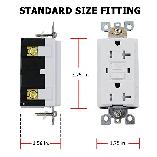 ESD Tech GFCI Wall Outlet Receptacle – 20 Amp, 125V, Self-Test, Tamper Resistant Decora Duplex with Dual LED Indicator Lights. New UL 2015 Listed. Wall Plate Included. by ESD TECH (Image #2)