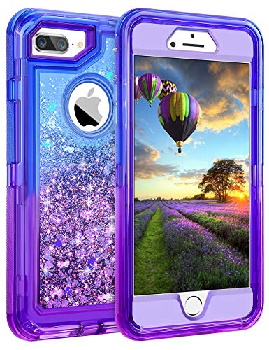 - Coolden Case for iPhone 8 Plus Case Protective Glitter Case for Women Girls Cute Bling Sparkle 3D Quicksand Heavy Duty Hard Shell Shockproof TPU Case for iPhone 6s Plus 7 Plus 8 Plus, Blue Purple