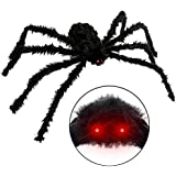 "AOJOYS Halloween Giant Spider Decorations, 50"" Large Fake Spider with Scary LED Red Eyes and Spooky Sound, Quake Spider Props for Outdoor Yard Decor"