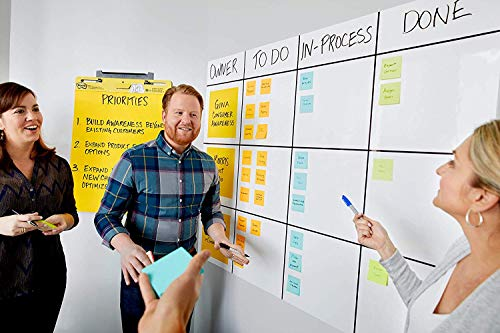 Post-it Dry Erase Whiteboard Film Surface for Walls, Doors, Tables, Chalkboards, Whiteboards, and More, Removable, Super Sticky, Stain-Proof, Easy Installation, 3 ft x 2 ft Roll (DEF3X2A) (Erase Dry Vinyl)