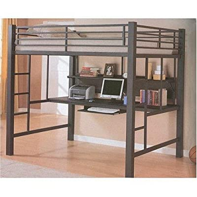 Coaster Fine Furniture 460023 Loft Bed with Workstation, Black Finish