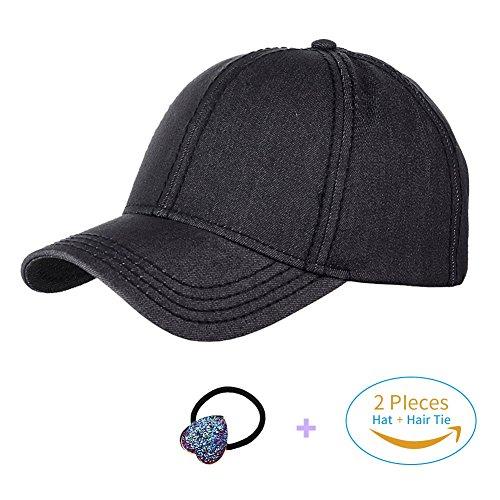 Visor Baseball Softball (HADM Cotton Glitter Baseball Cap High Messy Bun Ponytail Mesh Visor Cap Hats for Women)