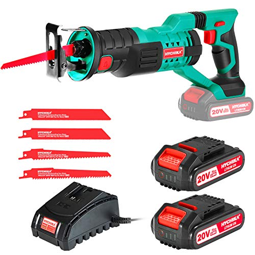"HYCHIKA Cordless Reciprocating Saw Sawzall 20V 2Ah 2 Batteries 4 Saw Blades, 0-2800SPM Variable Speed, 7/8"" Stroke Length Tool-Free Blade Change LED Light for Wood Metal Cutting Pruning"