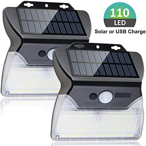 Focondot 110 LED Solar Lights Outdoor, Wireless Solar Powered Motion Sensor Lights Indoor, USB Charge 3 Lighting Modes with Wide Angle Waterproof Security Night Lights for Garden,Garage,Yard(2 Pack)