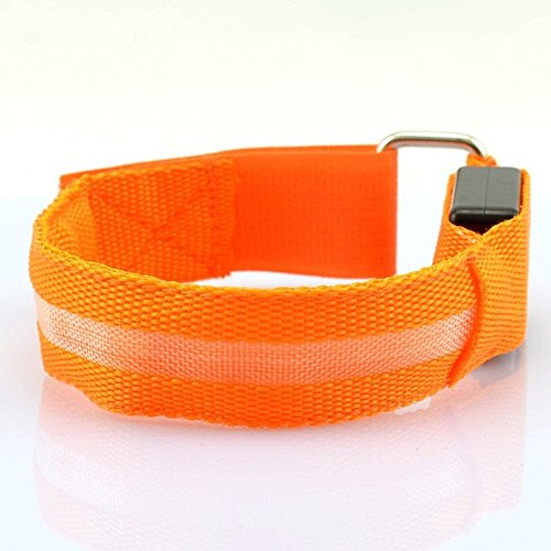 LED Sports Armband Flashing Safety Light for Running, Cycling or Walking At Night Set of 2 (Orange, Medium - up to 13 inch circumference)