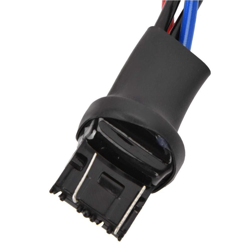 Terisass 2 Pcs 50W LED Bulb Single Resistance Harness 12V 7443 8RJ Single Resistance Wire