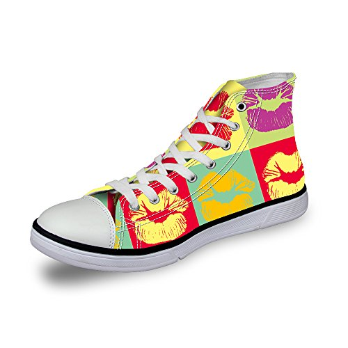 1 Lace Cute Sneaker up DESIGNS Multi FOR Prints Footprints Lip Women U Fashion Girls High Print Top TazqwxUCz
