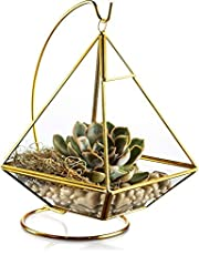 KooK Geometric Pyramid Hanging Terrarium with Stand