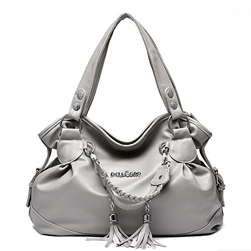 Leather Soft Bag Women's Shoulder Fashion Handbag Handle Bag Bag Capacity with Simple Lightgray Messenger Large Tote Double wpfxXA