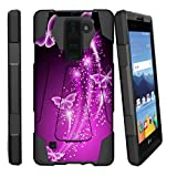 MINITURTLE Case Compatible w/ LG K8V Case | K8 V Stand Case [SHOCK FUSION] [Shock Absorption | Impact Resistant] Hybrid Dual Layer Armor Case Cover w/ Stand Hot Purple Butterfly